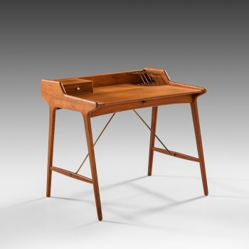Svend Aage Madsen desk in teak and brass at Studio Schalling