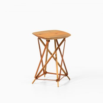 Lith Lith Lundin stool / side table in pine and leather at Studio Schalling