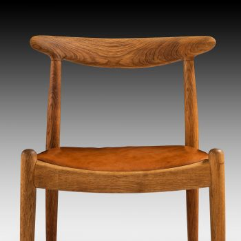 Hans Wegner W1 dining chairs in oak and leather at Studio Schalling