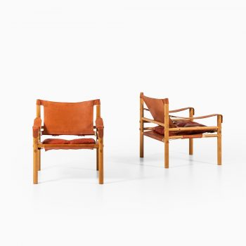 Arne Norell Sirocco easy chairs in ash and leather at Studio Schalling