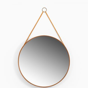 Round mirror in teak model nr 103 produced by Glasmäster at Studio Schalling