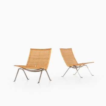Poul Kjærholm PK-22 easy chairs in rattan at Studio Schalling