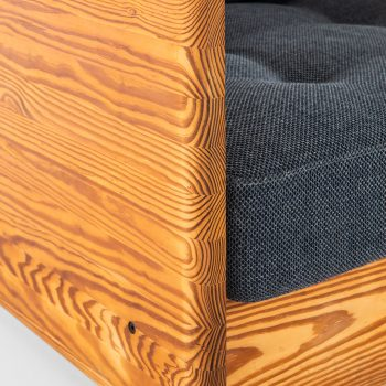 Easy chair in oregon pine and original blue fabric at Studio Schalling