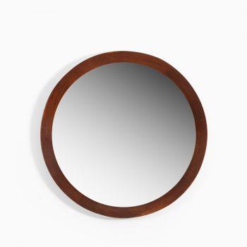 Round mirror in teak by Glas & Trä Hovmantorp at Studio Schalling