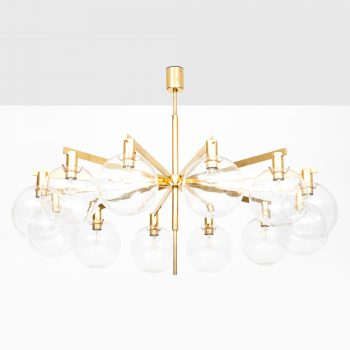 Hans-Agne Jakobsson ceiling lamp model T-348/12 in brass and glass at Studio Schalling