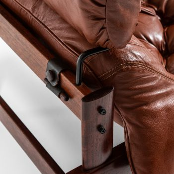 Percival Lafer easy chair in rosewood and brown leather at Studio Schalling