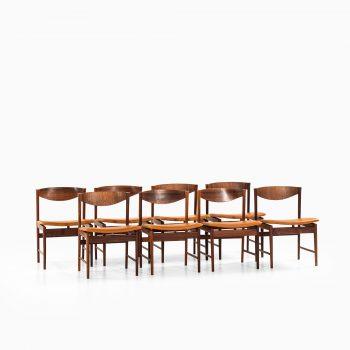 Ib Kofod-Larsen dining chairs in rosewood and leather at Studio Schalling