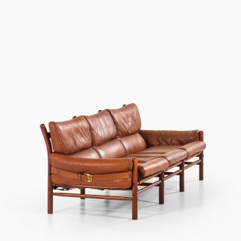 Arne Norell Kontiki 3-seat sofa in brown leather at Studio Schalling