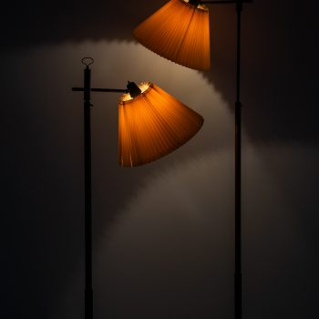 Floor lamps in leather and brass by unknown designer at Studio Schalling