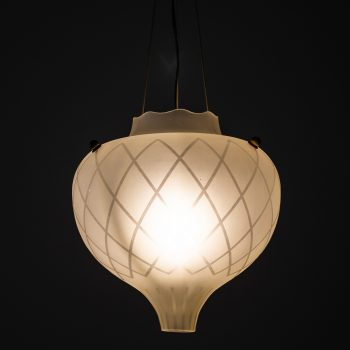 Ceiling lamp in brass and etched glass by Orrefors at Studio Schalling