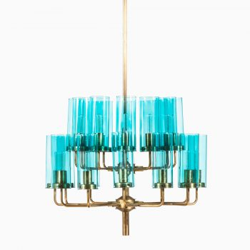 Hans-Agne Jakobsson T-434/24 ceiling lamp in brass and blue glass at Studio Schalling