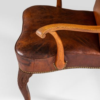 Frits Henningsen armchair in oak and natural leather at Studio Schalling