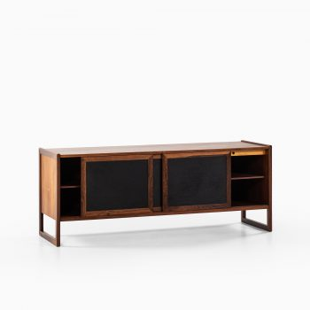 Rosewood sideboard with black leather at Studio Schalling