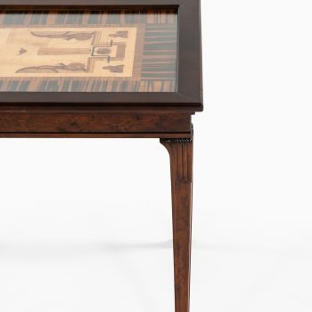Eric Chambert tray table in stained birch and intarsia at Studio Schalling