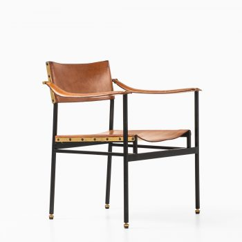 Armchair in black lacquered steel and leather at Studio Schalling