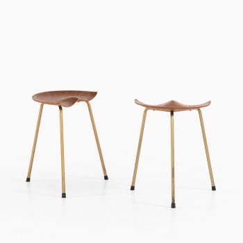 Pair of stools in teak and brass plated steel at Studio Schalling