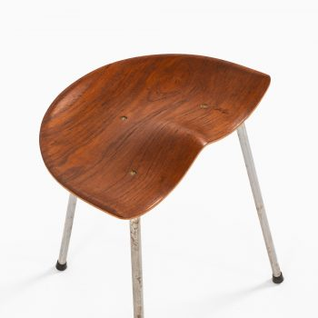 Stool in steel and teak by unknown designer at Studio Schalling