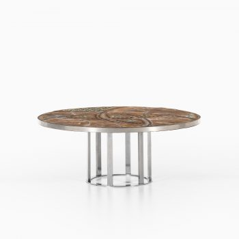 Brutalist coffee table with steel base at Studio Schalling