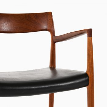 Niels O. Møller armchairs model 57 in teak and leather at Studio Schalling