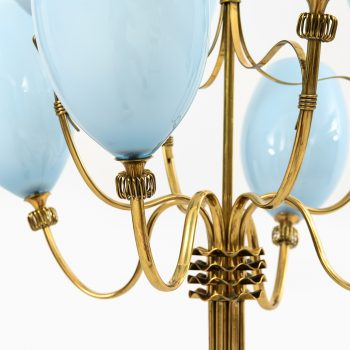 Paavo Tynell ceiling lamps in brass and blue glass at Studio Schalling
