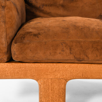 Sofa in oak, cane and leather at Studio Schalling