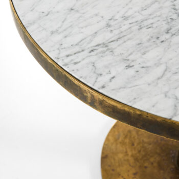 Dining table in brass and Carrara marble top at Studio Schalling
