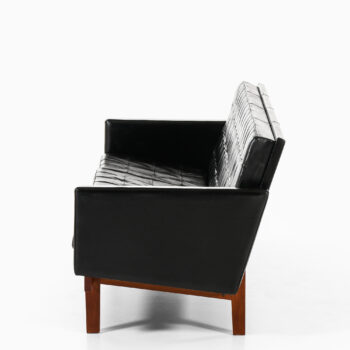 Karl-Erik Ekselius sofa in teak and black leather at Studio Schalling
