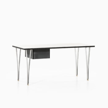 Freestanding desk in steel and lacquered wood at Studio Schalling