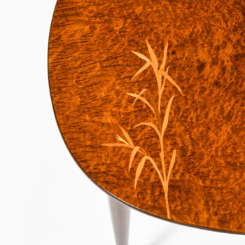 Side table in alder root with intarsia at Studio Schalling