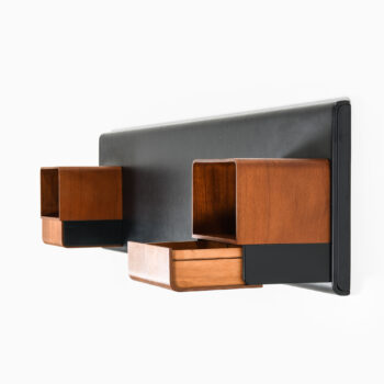 Headboard in teak and artificial leather at Studio Schalling