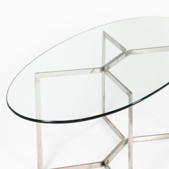Glass coffee table with chrome base at Studio Schalling