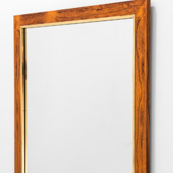 Rosewood mirror with brass by Fröseke at Studio Schalling