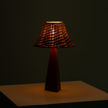 AB Armaturhantverk table lamps in leather at Studio Schalling