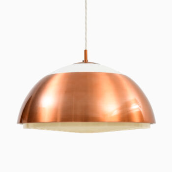 Ceiling lamps in copper and opaline glass at Studio Schalling