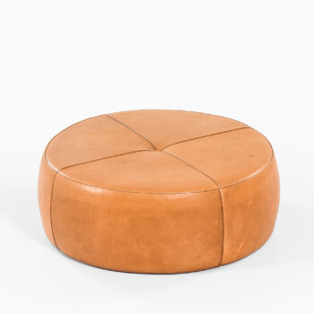 Large leather pouf by unknown designer at Studio Schalling