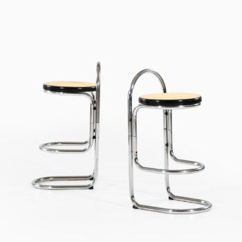 Pair of bar stools in steel and cane at Studio Schalling