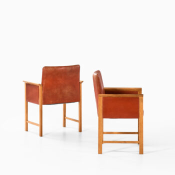 Armchairs in oak and red leather at Studio Schalling