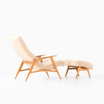 Easy chair with stool in sheepskin at Studio Schalling