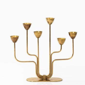 Gunnar Ander candlestick in brass at Studio Schalling