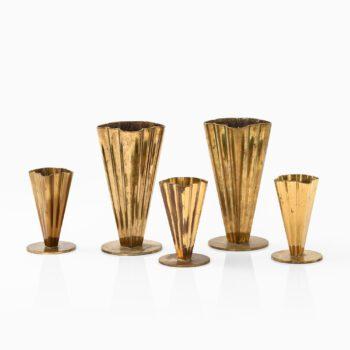 Gunnar Ander vases in brass by Ystad Metall at Studio Schalling