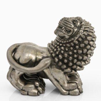Anna Petrus lion sculpture in pewter at Studio Schalling