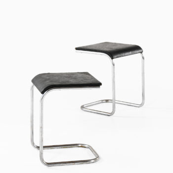 Pair of stools in chromed steel at Studio Schalling