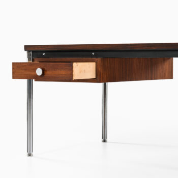 Desk in chromed steel and rosewood at Studio Schalling