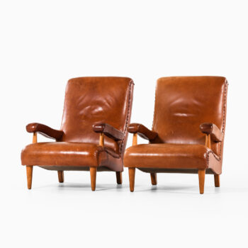 Rolf Engströmer easy chairs in leather at Studio Schalling