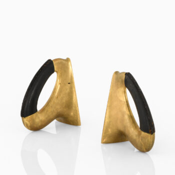 Carl Auböck bookends in brass and leather at Studio Schalling