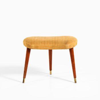 Stool in mahogany, brass and original fabric at Studio Schalling