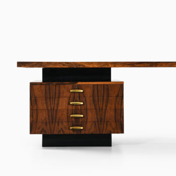 Large desk in rosewood and brass at Studio Schalling