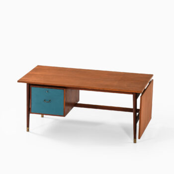 Desk in teak, brass and blue lacquer at Studio Schalling