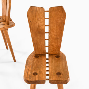 Side chairs in elm by unknown designer at Studio Schalling