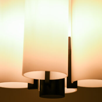 Pair of large ceiling lamps in opaline glass at Studio Schalling